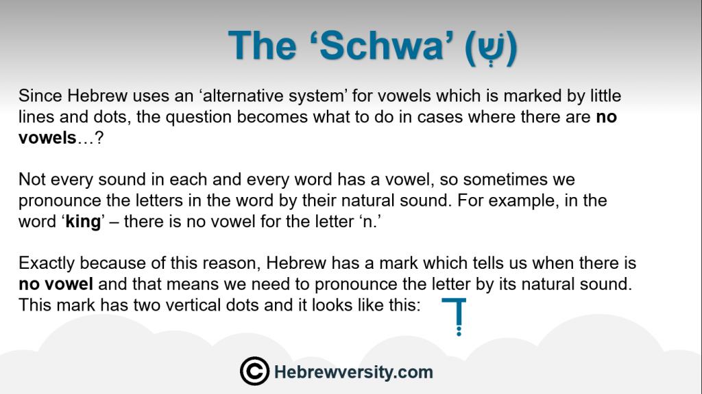 Lesson 12: 'Schwa' - hebrewversity